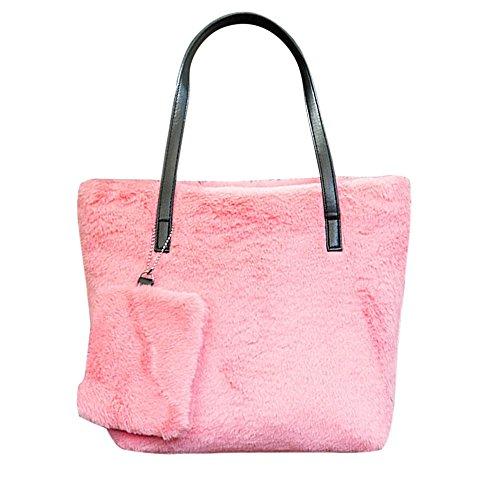 Sonnena - Bolso estilo bolera de Lona para mujer Rosa rosa Rosa