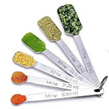 Measuring Spoons, 6PCS Stainless Steel Metal Measuring Cup Scoops Set, for Coffee Tea Narrow Mouth Spice Jars Kitchen Baking Cooking Tool - Silver