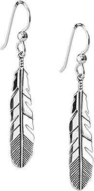 Sterling Silver Feathers Earrings 925 Southwest Vintage Earrings Dangle Drop
