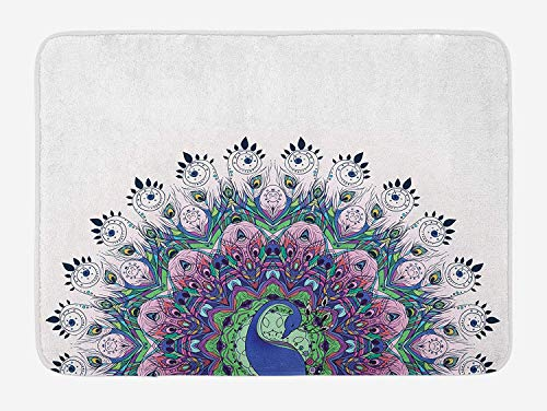 (Weeosazg Peacock Bath Mat, Peacock Illustration Exotic Wildlife Feather Ornament Vintage Oriental, Plush Bathroom Decor Mat with Non Slip Backing, 23.6 W X 15.7 W Inches, Violet Blue Green)
