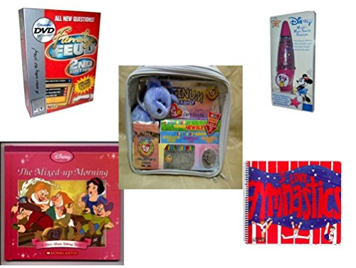 Girl's Gift Bundle - Ages 6-12 [5 Piece] - Family Feud 2 Edition DVD Game -  Salamander Graphix Disney Minnie's Magic Sparkle Nightlight - Ty Beanie