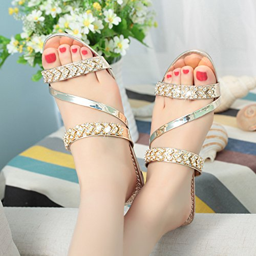 Thick Open Fashion Cool And Spring women And Rhinestone Sandals Casual Slippers Toe Golden slippers Wild With Summer Slip Rhinestones wAPqT8x