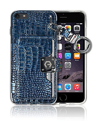"iPhone 8 / 7 (4.7"") Key Chain [4 Card Slot] [Slim Fit] Textured Crocodile Leather Front Shield Screen Back Bumper Magnetic Holder Purse Diary Cover Apple iPhone 8 / 7 Charm Wallet Case (Metal Blue)"