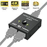 TraderPlus 4K 3D HD 1080P 60Hz Aluminum HDMI 2.0 Bi-Directional Switcher Splitter 1 In 2 Out or 2 Input 1 Output for Nintendo, Xbox, PS4, Roku, Blu-Ray Player, HDTV, Projector