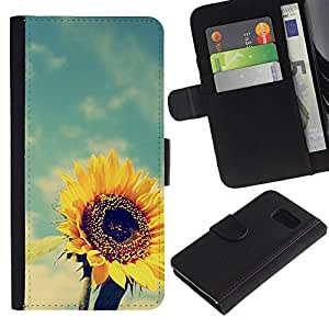 ProTech - Samsung Galaxy S6 SM-G920 - Sunflower Yellow Vignette Summer - Cuero PU Delgado caso Billetera cubierta Shell Armor Funda Case Cover Wallet Credit Card