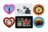 Premium Set of 6 Magnetic Picture Frames for Home, Office, Refrigerator, Locker, or Any Metal Surface. 2 Standard 4 x 6 inch, 2 Heart shape and 2 Round Shape Frames in Assorted Colors by Bins & Things