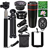 AFAITH 10-in-1 Camera Lens Kit 8x Telephoto Telescope Lens + Fish Eye Lens + Wide Angle + Macro Lens + Selfie Stick Monopod + Bluetooth Remote Control + Mini Tripod For iPhone 4S 5 5C 5S 6 6 Plus Samsung Galaxy S3 S4 S5 S6 Edge Note 2 3 4 HTC Nokia a