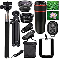 AFAITH Mobile Phones Lens 10-in-1 Lens Kit for Smartphone, 8x Telescope for telephoto / fisheye lens / 2 in 1 macro lens and remote control Selfie Stick Monopod + Bluetooth + Mini Tripod Monopod for iPhone 7 / iPhone 7 Plus, iPhone 6s / 6s Plus, Samsung Galaxy S8 / S8 / S7 / S7 / S6, Huawei P10 / P9 / P8, Sony, HTC, Nokia und andere Smartphones PA051