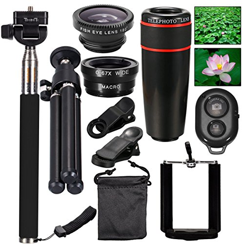 AFAITH 10-in-1 Camera Lens Kit 8x Telephoto Telescope Lens + Fish Eye...