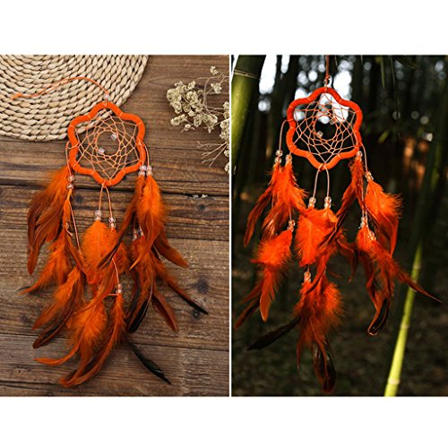 JAGENIE Plum Blossom Dream Catcher with Feather Wall Car Hanging Decoration Ornament Orange
