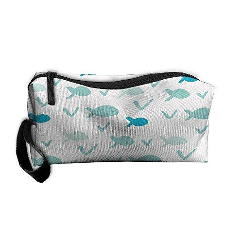 Kla Ju Portable Pencil Bag Purse Pouch Small Whale Sign Stationery Storage Organizer Cosmetic -