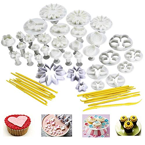 (47Pcs/set DIY Cake Cutters Molds Cake Decoration Tool Set Fondant Cake Cookie Sugar Craft Decorating Plunger Flowers Modelling Tools Set)