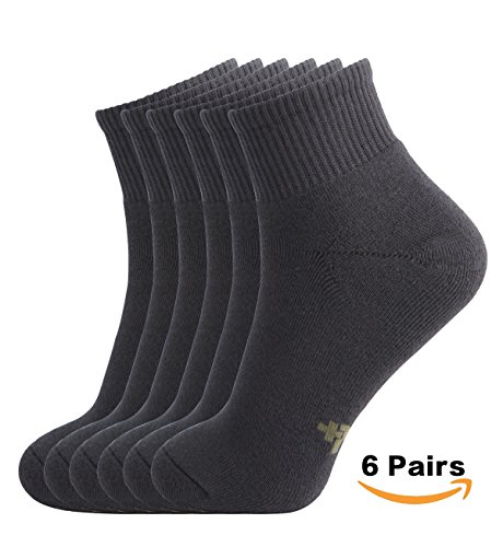 Comfort Low Quarter Sock - MD 6 Pairs Men's Ultra Comfort Cushioned Moisture Wicking Bamboo Quarter Socks Size 10-13 Grey