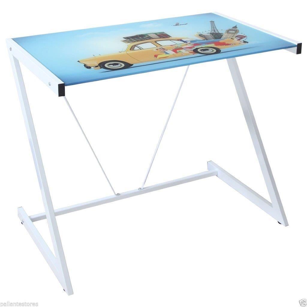 Tavolino Scrivania in Ferro con Piano in Vetro Temperato My Office Picture Auto sal mar