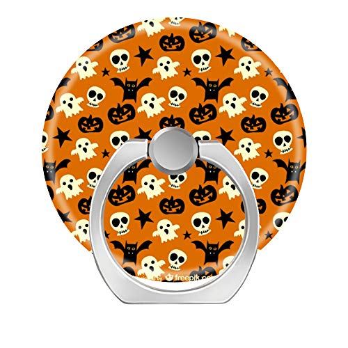 fkkl 360 Degree Rotation Cell Phone Ring Socket Grip Holder Finger Pop Stand with Car Mount Work for All Smartphone and Tablets - Cute Halloween Ghosts and Skulls -