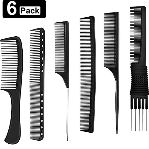 6 Pieces Hair Comb Set Tail Combs Styling Comb Black Carbon Fiber and Stainless Steel Pintail Lift Teasing Combs Fine Tooth Hair Comb Fine Cutting Comb for Most Hair Types