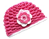 POM KIDS Crochet Beanie Contrast OP Hat with Flower : Pink