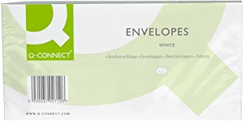 KF03000 Pack of 500 Q-Connect DL Envelopes 100gsm Window Peel and Seal White