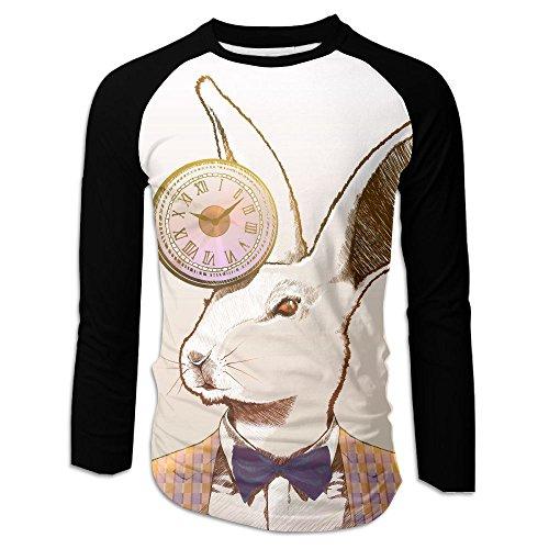 (Yishuo Clock Rabbit Men Front Single Print Casual Long Sleeve T-Shirt)