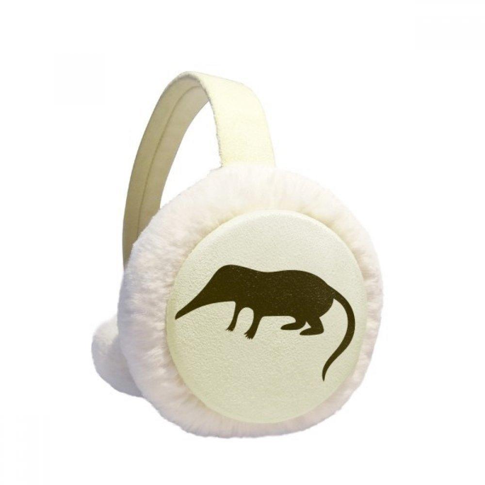 Black Shrew Animal Portrayal Winter Earmuffs Ear Warmers Faux Fur Foldable Plush Outdoor Gift