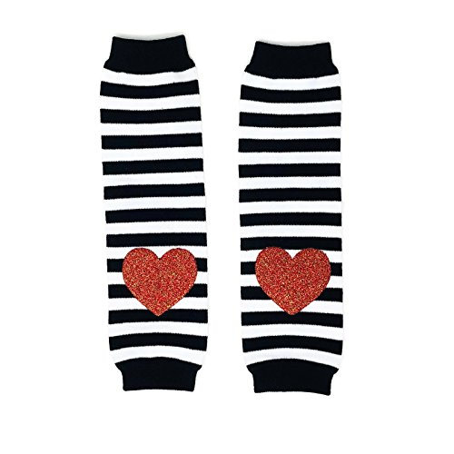 Clover Stripe (Rush Dance Valentine's Day Love Hearts Baby/ Toddler Leg Warmers (One Size, Black and White Stripes with Pink Heart))