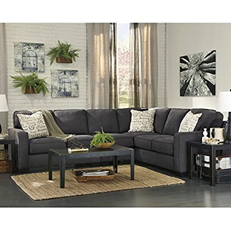 Flash Furniture Signature Design By Ashley Alenya 3 Piece RAF Sofa Sectional In Charcoal Microfiber
