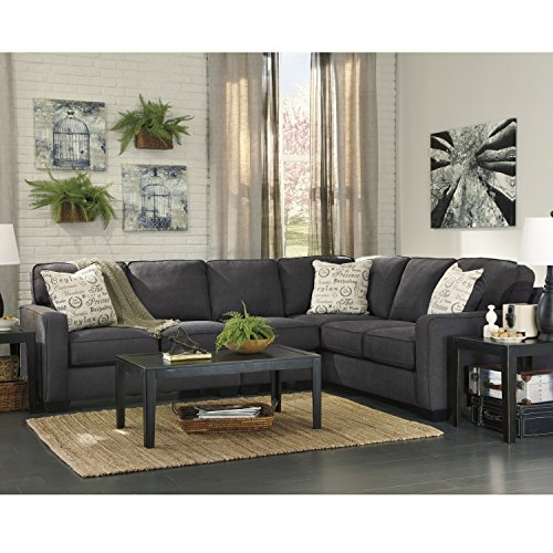 Flash Furniture Signature Design by Ashley Alenya 3-Piece RAF Sofa Sectional in Charcoal Microfiber