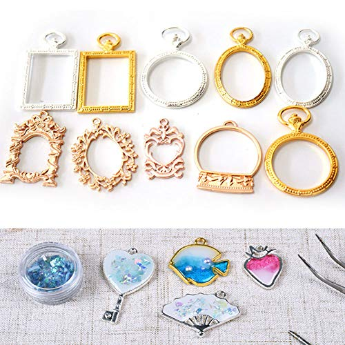 Oval Cabochon Accent - haixclvyE 10Pcs/Set DIY Metal Photo Frame Pendant Art Craft Oval Bezel Cabochon Photo Metal Frames