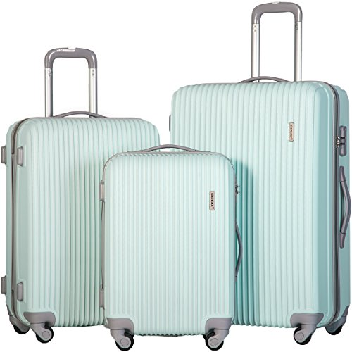 Merax 3 Piece Luggage Set Suitcase Spinner Hardshell Lightweight (Light Blue.)