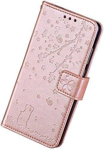 Herbests Kompatibel mit Samsung Galaxy S7 Hülle Flip Case Handyhülle Schmetterling Kirschblüte Blumen Katze Schutzhülle Leder Hülle Brieftasche Hülle Tasche Magnet Kartenfach,Rose Gold