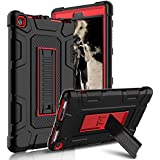 Kindle Fire 8 2017 Case, New Fire HD 8 Case, Zenic Three Layer Heavy Duty Shockproof Full-body Protective Hybrid Case Cover With Kickstand for Kindle Fire 8 2017/All-New Fire HD 8 (Red/Black)