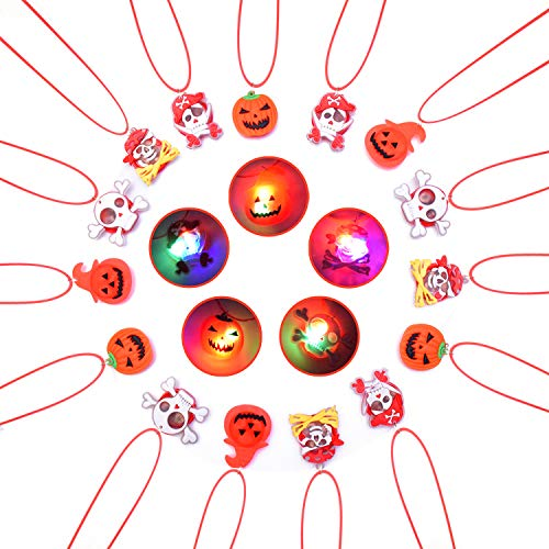 Halloween LED Necklaces Party Favors Set for Kids and Adult with Gift Package Halloween Light up toys Treat Bag Fillers 15pcs