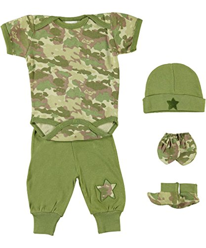 Baby 5-Piece Camo Outfit Gift Set, Olive, 0-3 Months