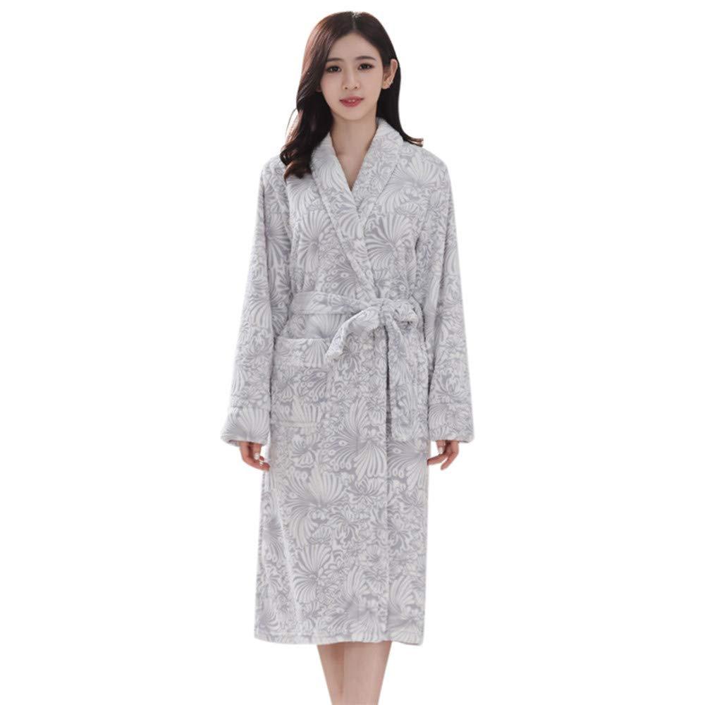 Quelife Lover Winter Lengthened Bathrobe Splicing Home Clothes Long Sleeved Robe Coat (Gray,XL)