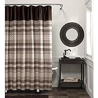 MAYTEX Blake Chenille cortina de ducha de tela a rayas, marrón Multi