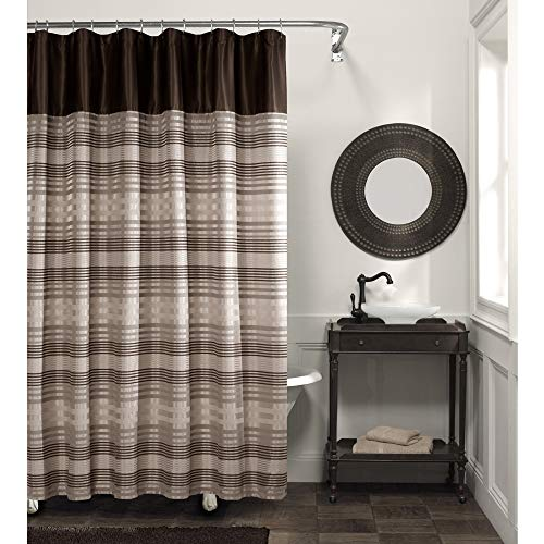 Striped Brown Color - MAYTEX Blake Chenille Striped Fabric Shower Curtain, Brown Multi