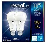 GE Lighting Reveal HD LED 13-watt (100-watt Replacement), 1140-Lumen A21 Light Bulb with Medium Base, 2-Pack