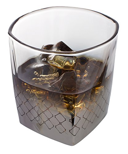 Metallic Whiskey Glasses with Silver Geometric Detailing, 7.5 - Cheap Whiskey Glasses