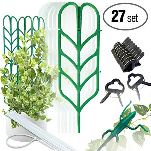 PeerBasics, Indoor Plant Trellis Bundle Pack, 6 Climbing Garden Leaf Shape Supports, 10 Large Flower Lever Loop Gripper Clips, 10 Zip Ties for DYI Climbing Stems Stalks & Vine Vegetable Potted Garden