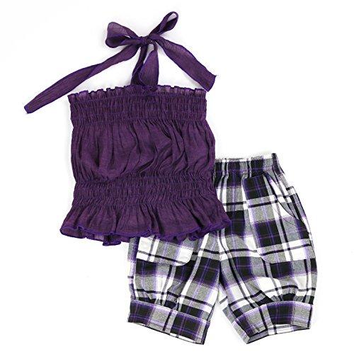 (LELEFORKIDS - Toddlers and Girls 'Fun Under The Sun' Halter Plaid Capri Set   Phyllis Pierce's Parisian Purple 4T)