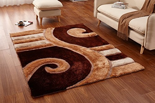 Casamode Functional Furniture Casa Regina Shaggy Collection - 3D Design - Abstract Lines and Swirl Brown Beige Soft Shag Area Rugs 5x7