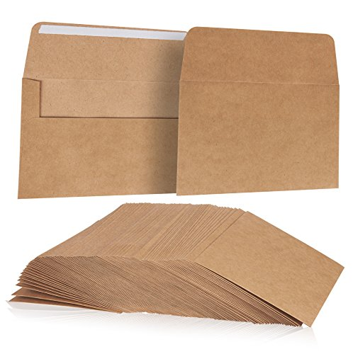 A7 Kraft Invitation Envelopes For General, Office, Home, Personal and Private Use - Tan - Set of 100 - 5.2 x7.2 Inches