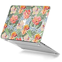 GMYLE Blooming Tropical Pastel Floral Pattern Soft-Touch Crystal Plastic Clear See-through Hard Case Cover for Macbook Air 13 inch (Model: A1369 & A1466)