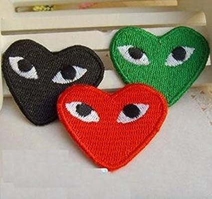 4bdedcde4674 Amazon.com  3 PCS COMME DES GARCONS CDG PLAY LOGO HEART PIN  RED+GREEN+BLACK  Toys   Games