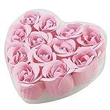 12 Pcs Bathing Fuchsia Rose Bud Flower Petal Soap + Heart Shape Box
