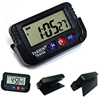 Flipco Digital Lcd Alarm Table Desk Car Calendar Clock Timer Stopwatch Dashboard / Office Desk Alarm Clock And Stopwatch - Black