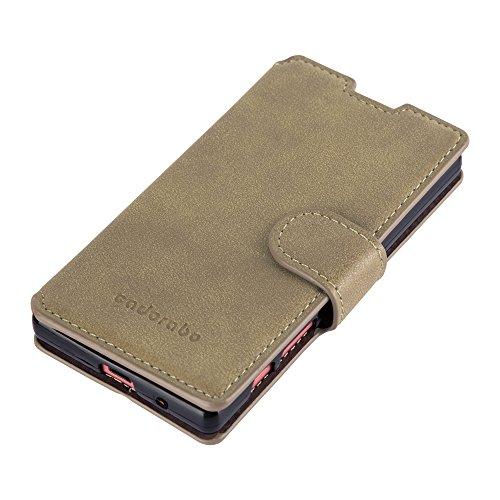 Cadorabo - Funda Book Style de Cuero Sintético Mate para Sony Xperia Z5 COMPACT / MINI en Diseño Retro con Tarjetero y Función de Suporte - Etui Case Cover Carcasa Caja Protección en GRIS-APAGADO NARANJA-APAGADO