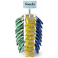 Displays2go Rotating Counter Stands for Chips, 36 Strip Displays, Spinner Racks Design, Top Sign Holder - White (CCCR36WH)