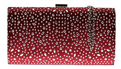 Satin Bag Hard Bag Gemstones Evening Party Drops Case Maroon HandBags Luxury New Clutch Girly Aa6xqBw