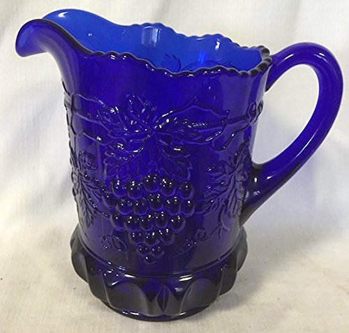 American Pattern Glass Bowl (Pitcher - Grape & Cable Pattern - Cobalt Blue Glass - American)